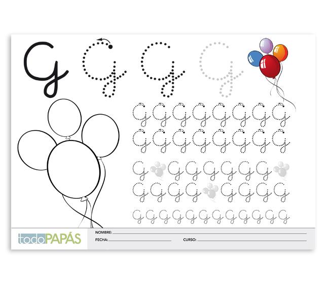Aprender a escribir y leer la letra g en mayúsculas. Plantillas para ...