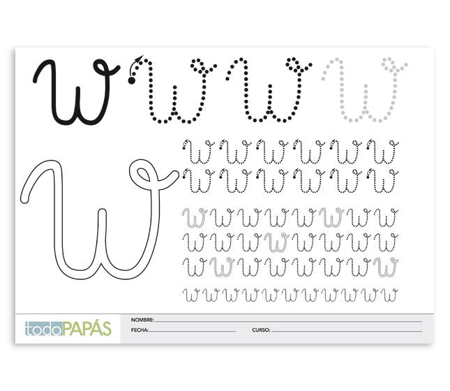 Aprender a escribir y leer la letra w en mayúsculas. Plantillas para ...