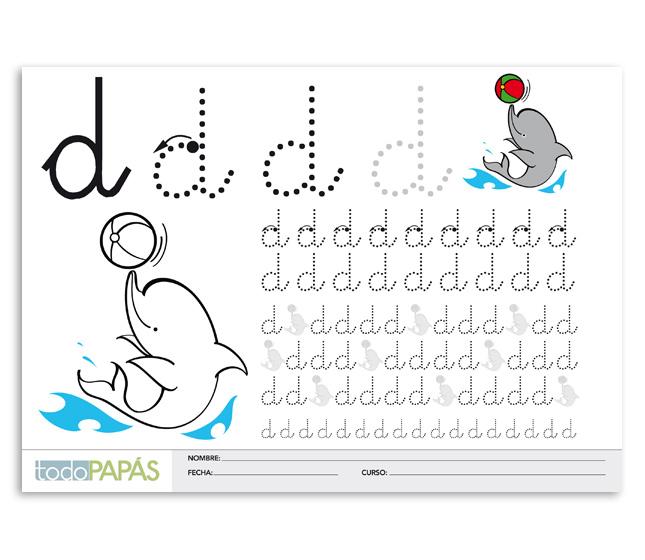 Aprender a escribir y leer la letra d en minúsculas. Caligrafía para ...