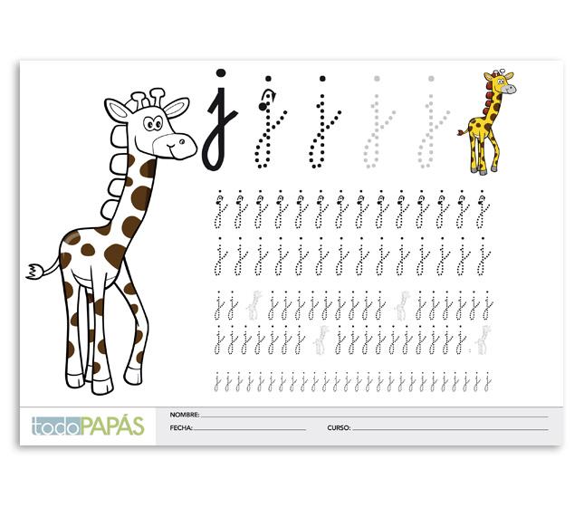 Aprender a escribir y leer la letra j en minúsculas. Caligrafía para ...