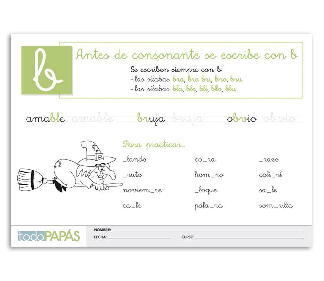 Ficha sobre la regla de ortografía en español de la letra B antes de ...