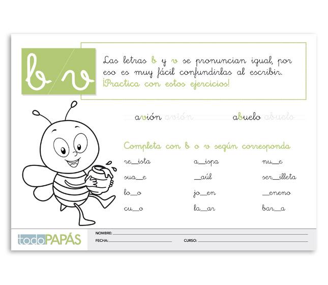 Fichas sobre la regla de ortografía en español de las letras b y v ...