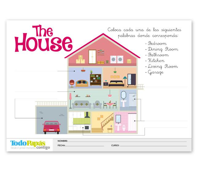 Ficha sobre vocabulario de las partes de la casa en ingl s todopap s - Partes de la casa en ingles para ninos ...