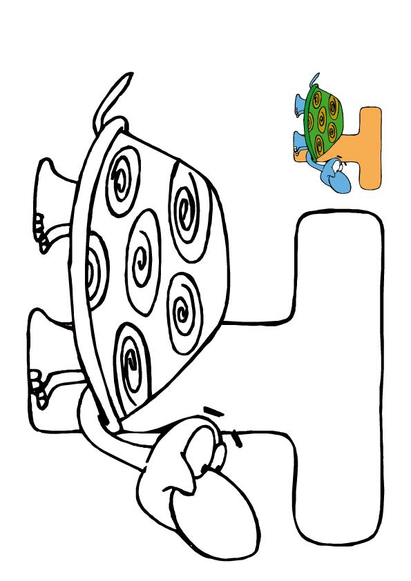 Colorea dibujos de letras - Tortuga veloz