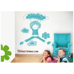 Vinilo Decorativo Niña Nubes de Decora Tu Pared