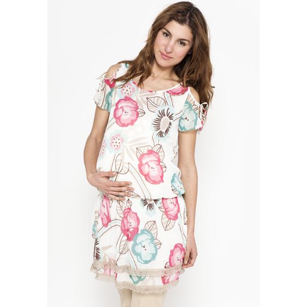 Vestido premam blanco con flores de pr natal todopap s - Ropa bano premama ...