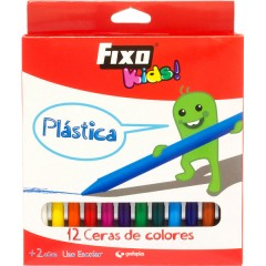 Caja de 12 Ceras Plástica Fixo Kids de Grafoplas
