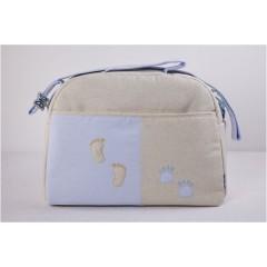 Bolso maternal huellas azul de belino