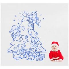 Vinilo Decorativo Duendecillos y árbol de Navidad de Vinilos con Arte