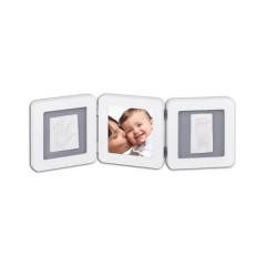 Marco de foto y doble huella Blanco y gris de Baby Art