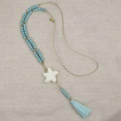 Collar Piedras Turquesas con Estrella de Mar y Pompón de Stella Rittwagen