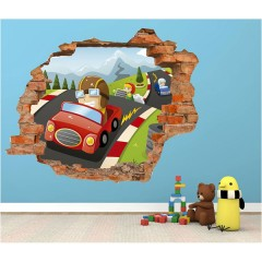 Vinilo Decorativo Amazing 3d Carreras de Coches de Decora Tu Pared