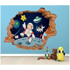 Vinilo Decorativo Amazing 3d Astronauta de Decora Tu Pared
