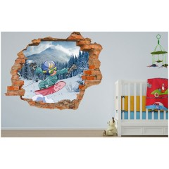 Vinilo Decorativo Amazing 3d Snowboard de Decora Tu Pared