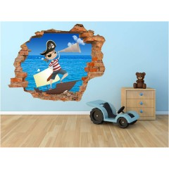 Vinilo Decorativo Amazing 3d Pirata de Decora Tu Pared