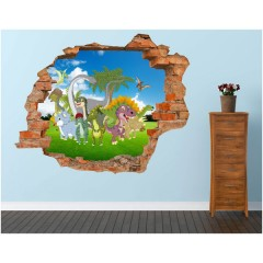 Vinilo Decorativo Amazing 3d Dinosaurios de Decora Tu Pared