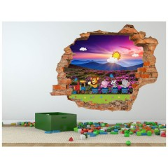 Vinilo Decorativo Amazing 3d Tren de Animales de Decora Tu Pared