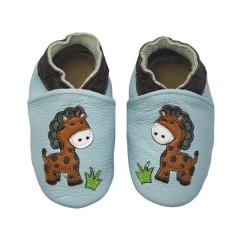 Zapato para bebé ClassicZ Jungle Giraffe Baby Blue de Rose et Chocolat