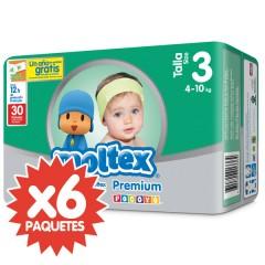 180 Pañales T3 Premium Med. 4-10 Kg de Moltex