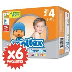 156 Pañales T4 Premium Grande 9-15 Kg de Moltex