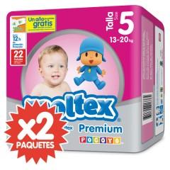 168 Pañales T5 Premium Súper 13-20 Kg de Moltex